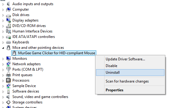Procedure to Uninstall Device Driver of Gaming Mouse Software with Windows Control Panel